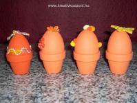 Húsvéti pályázat - Színes húsvéti tojások, kis cserepekben