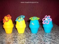 Húsvéti pályázat - Húsvéti tojások kis cserepekben - filc virágokkal