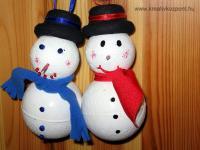 Karácsonyi pályázat - Hóember styropor gömbből - Kész