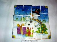 Karácsonyi pályázat - Dekupázs mozaik kép karácsonyra - Kész