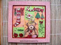 Karácsonyi pályázat - Decoupage maci - Kész