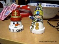 Karácsonyi pályázat - Cserép hóemberek