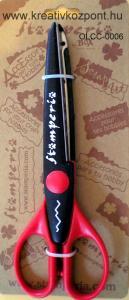 Olló cikk-cakk Stamperia - piros