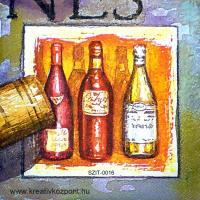 Szalvéta - Három üveg bor