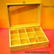 Teafilter tartó - 12 rekeszes átlátszó tetővel