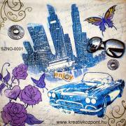 Szalvéta - Kék autó