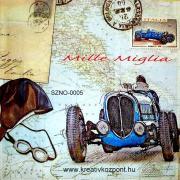 Szalvéta - Kék sportautó