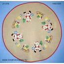 Hímzés - Kör alakú terítő mikulásokkal