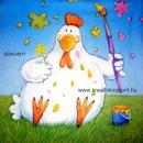 Szalvéta - Húsvéti tyúk festékkel