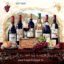 Szalvéta - Borosüvegek szőlővel