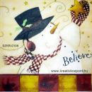 Szalvéta - Hóember fekete kalapban