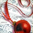 Szalvéta - Karácsonyi gömbök kottával