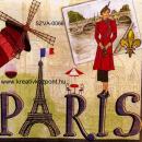 Szalvéta - Párizs - Piros ruhás nő