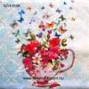 Szalvéta - Virágváza lepkékkel