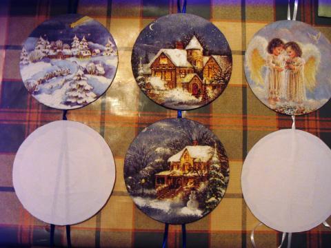 Karácsonyi díszek CD lemezből - Már majdnem kész
