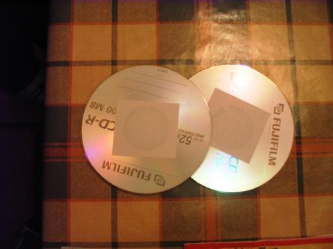 Karácsonyi dísz CD lemezből - CD-k leragasztva