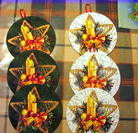 Karácsonyi díszek CD lemezből - Poháralátét